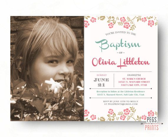 LDS Baptism Invitation Girl (Printable) LDS Baptism Invite ...