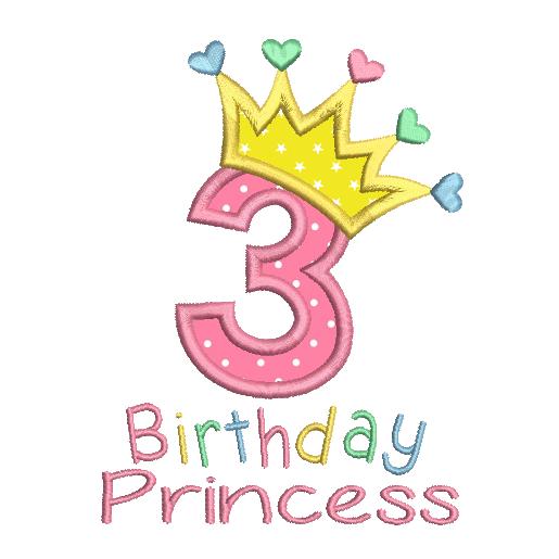 3rd Birthday Princess Applique Sa510 45 With Images Birthday