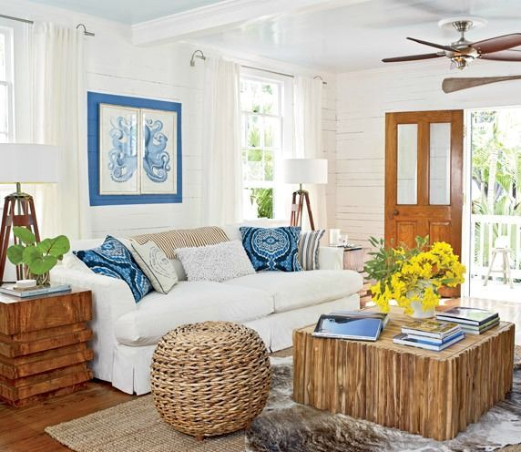 Cozy Island Style Cottage Home In Key West Coastal Living Roomscottage
