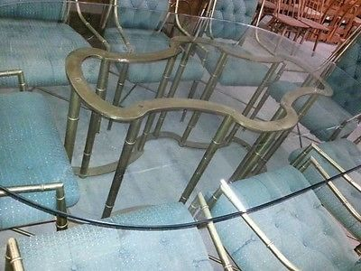 Vintage-Mastercraft-Faux-Brass-Bamboo-Dining-Table-with-Original-3-4-Glass-Top