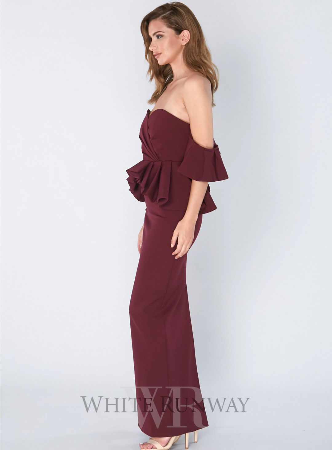 0a7f7587df6d Reina Gown. A gorgeous full length dress by Samantha Rose. An off shoulder  style featuring ruffle sleeves and peplum waistline.