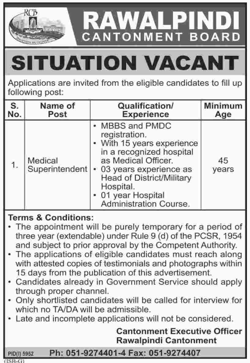 jobs in Rawalpindi Cantonment Board 11 may 2017