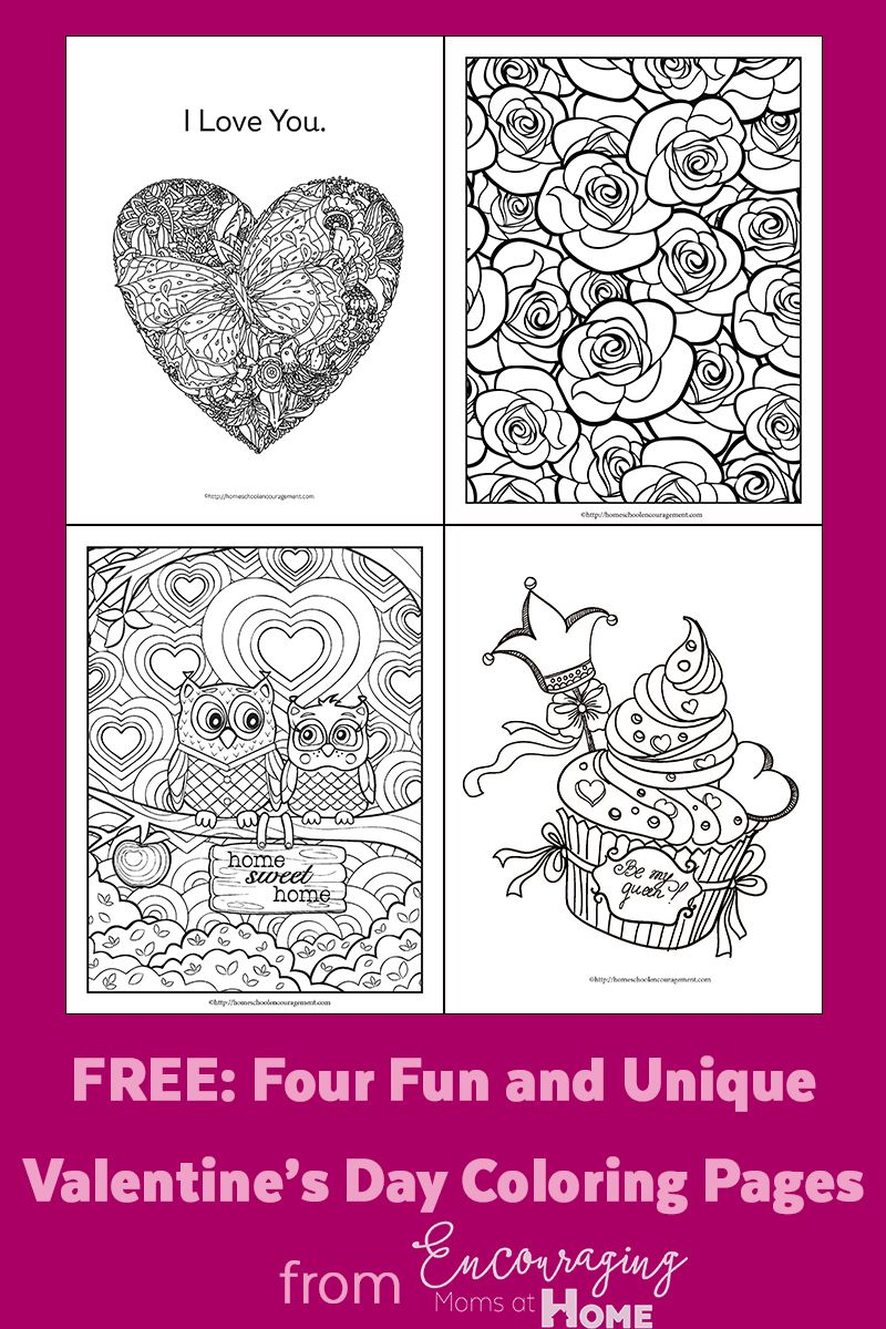 Free: Four Fun and Unique Valentine\'s Day Coloring Pages