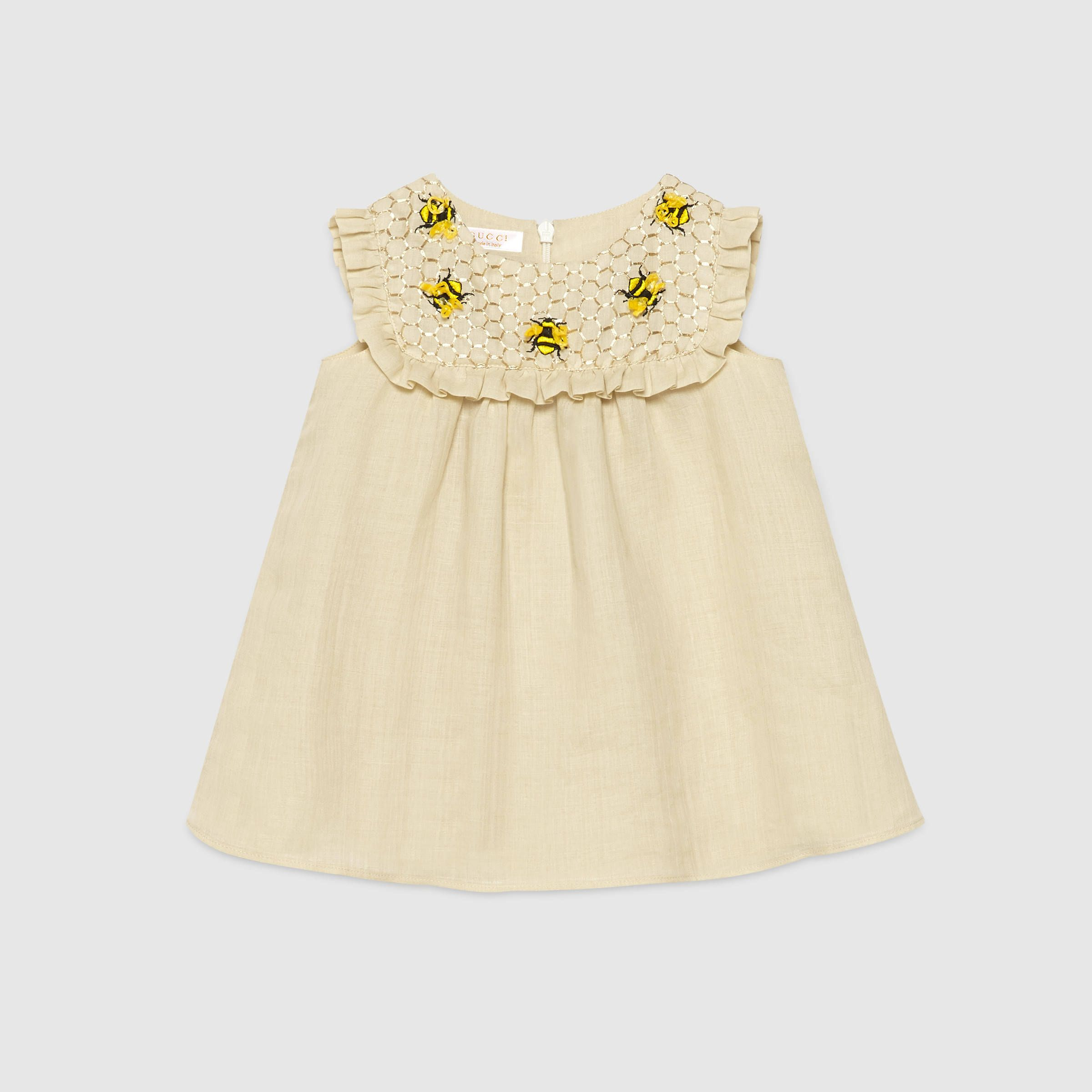 Gucci Children Baby beehive embroidery dress XB