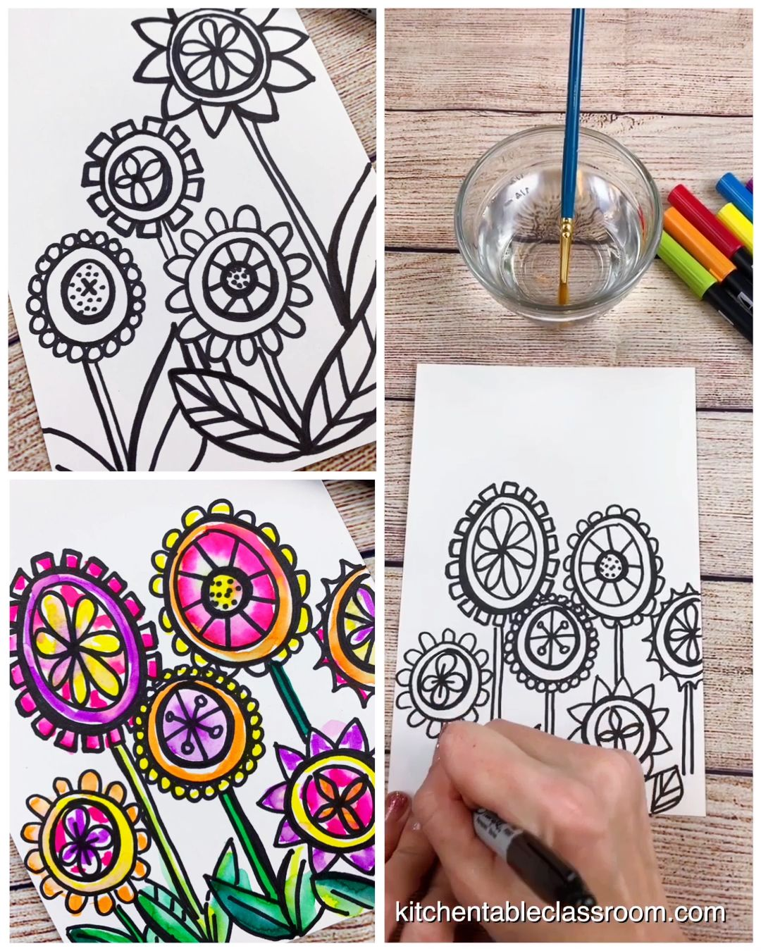 Draw a Flower- A Colorful Directed Drawing Exercis