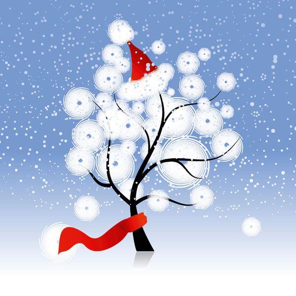 Julekort uden støtte. Motiv: Sne, julemand, juletræ ...