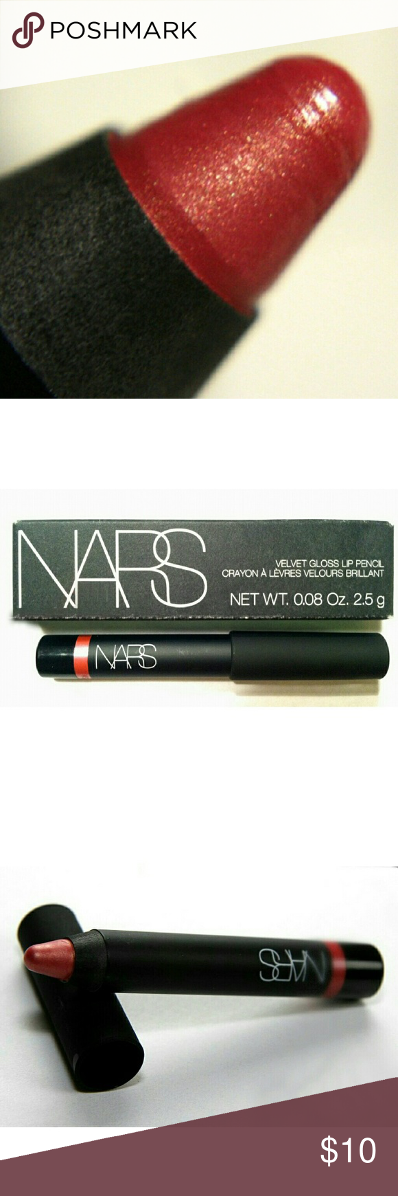 NARS Mini Velvet Gloss Lip Pencil in New Lover - Bright strawberymry shade with gold shimmer - Designed to give buildable coverage and moisturize - Travel size, 2.5 mg / 0.09 oz - Brand New in Box NARS Makeup Lipstick
