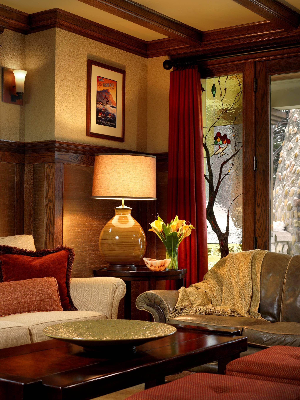 craftsman style living room by corea sotropa interior design