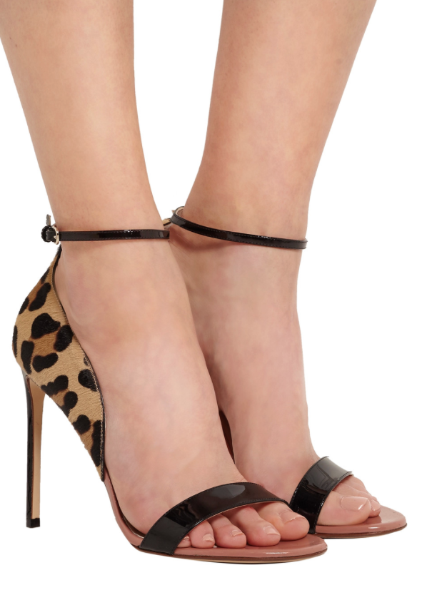 Wear Now, Wear Later | Francesco Russo Leopard-Print Calf Hair and Patent-Leather Sandals