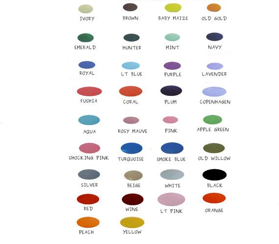 This Is A Color Chart With All Of The Options For Colors We Have
