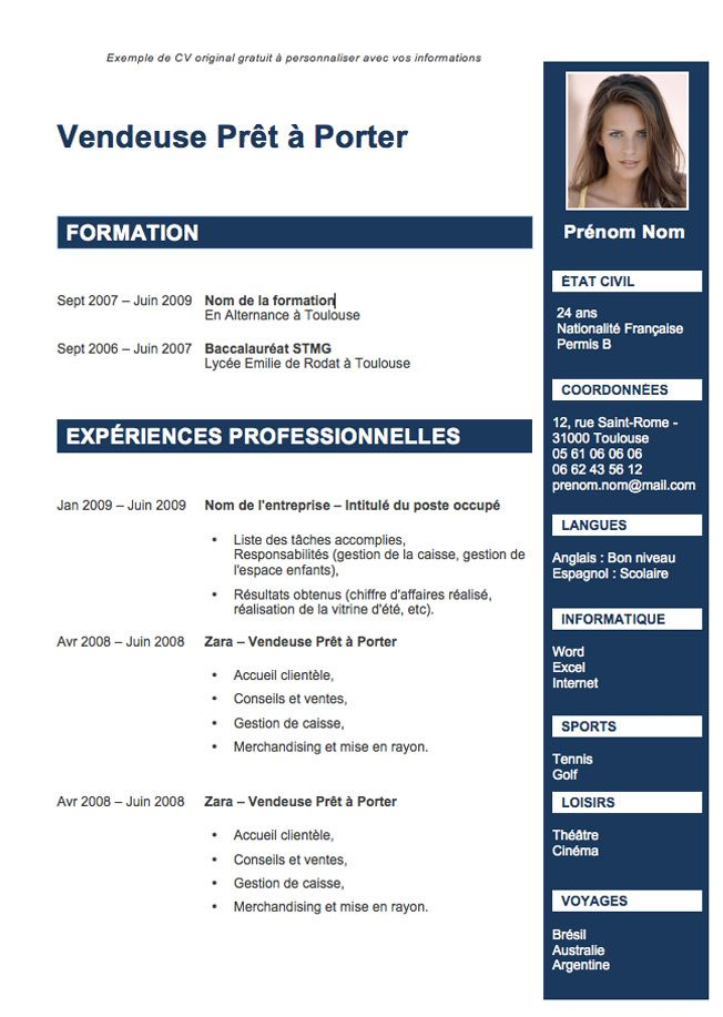 exemple de cv etudiant en informatique