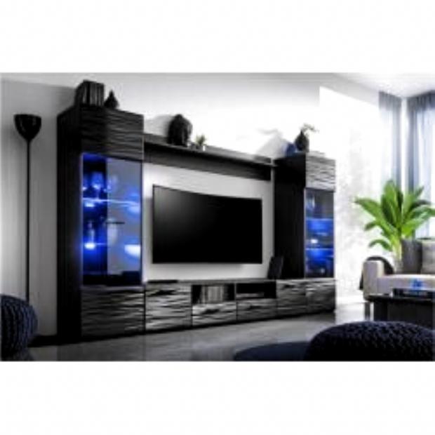 Stylefy Delme Wohnwand Anbauwand Schwarz Graphit Hochglanz In 2020 Modern Entertainment Center Modern Tv Room Modern Tv
