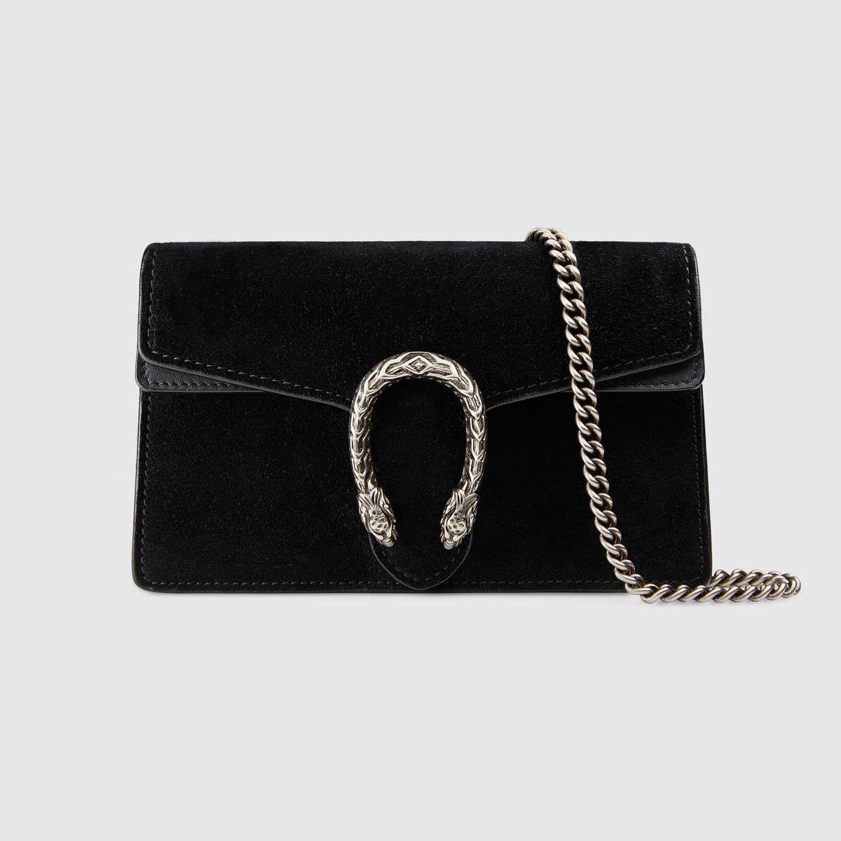 5581725adb8 GUCCI Dionysus Suede Super Mini Bag - Black Suede.  gucci  bags  shoulder  bags  crystal  stone  velvet  suede