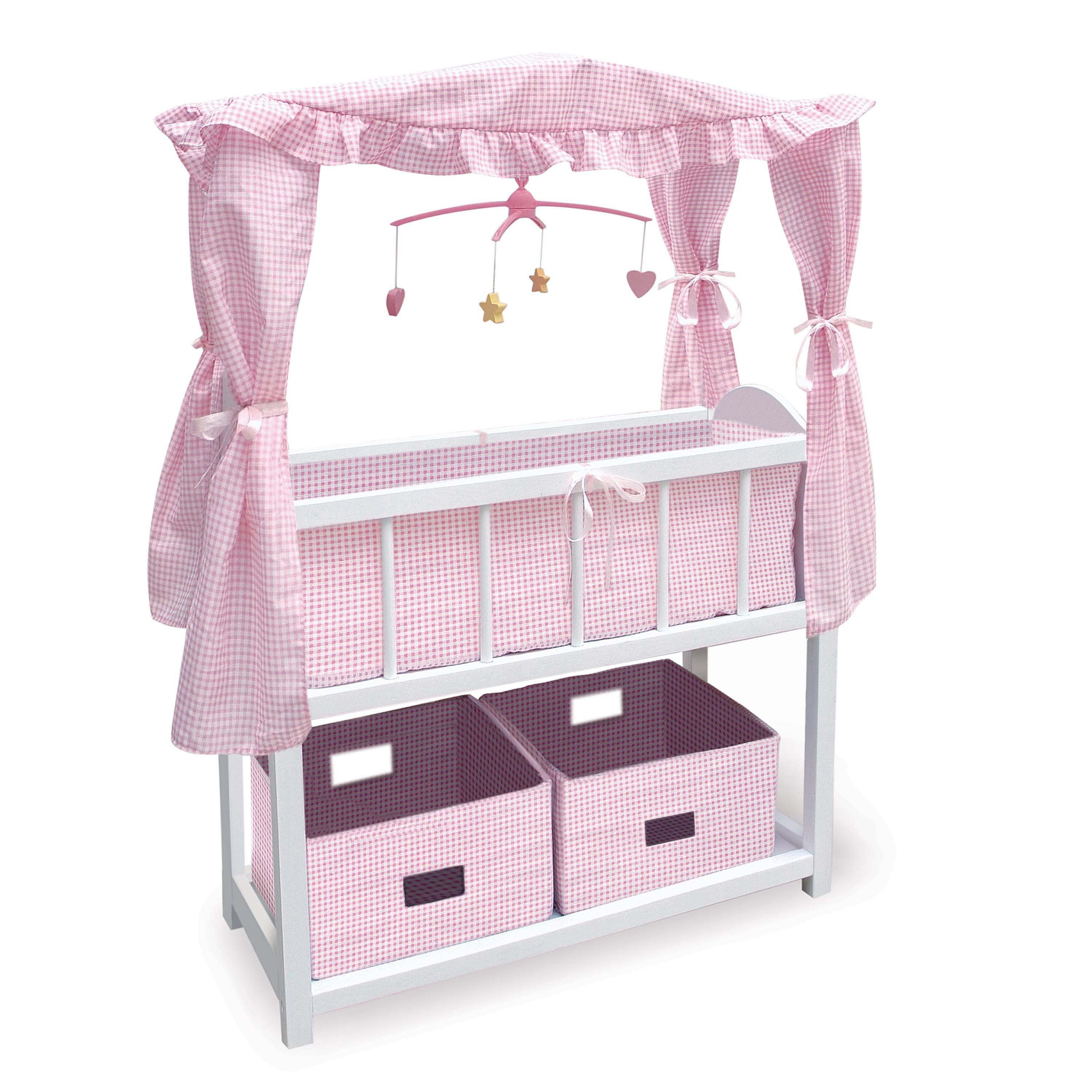 Badger Basket Canopy Doll Crib with Baskets Bedding u0026 Mobile (fits American Girl dolls)  sc 1 st  Pinterest & Useful White Wooden Baby Crib with Two Storages Underneath and ...