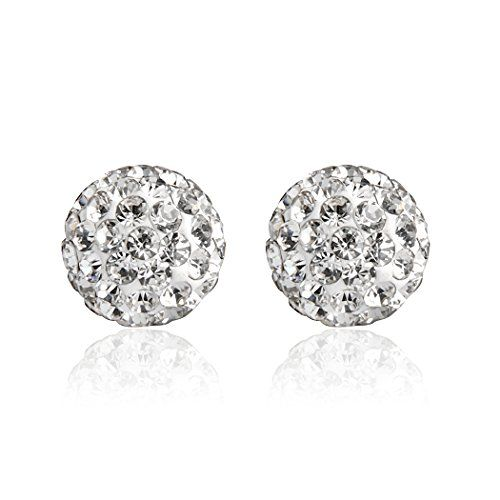 Hoter Crystal Ball Stud Earrings6mm8mm10mm Bling Jewelry Fashion And Sophisticated 925 Sterling Silver Gift Ideas Dress up Type  10mm * You can find more details by visiting the image link.