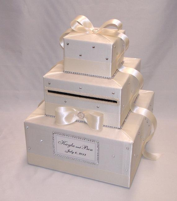 Ivory Eggplant Wedding Card Boxany color combinationrhinestones