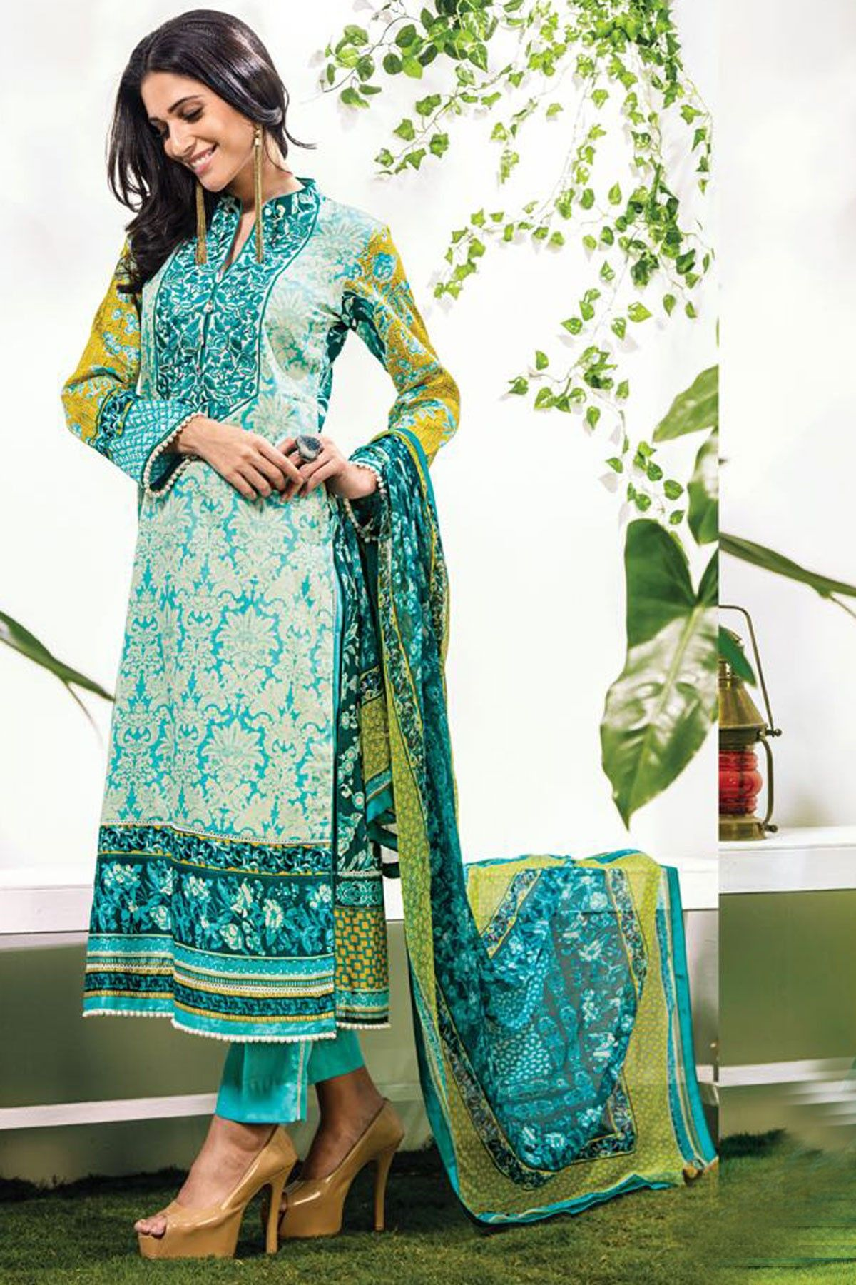 Plush light #blue multi color #cotton #satin straight cut #kameez and straight pants-SL5018