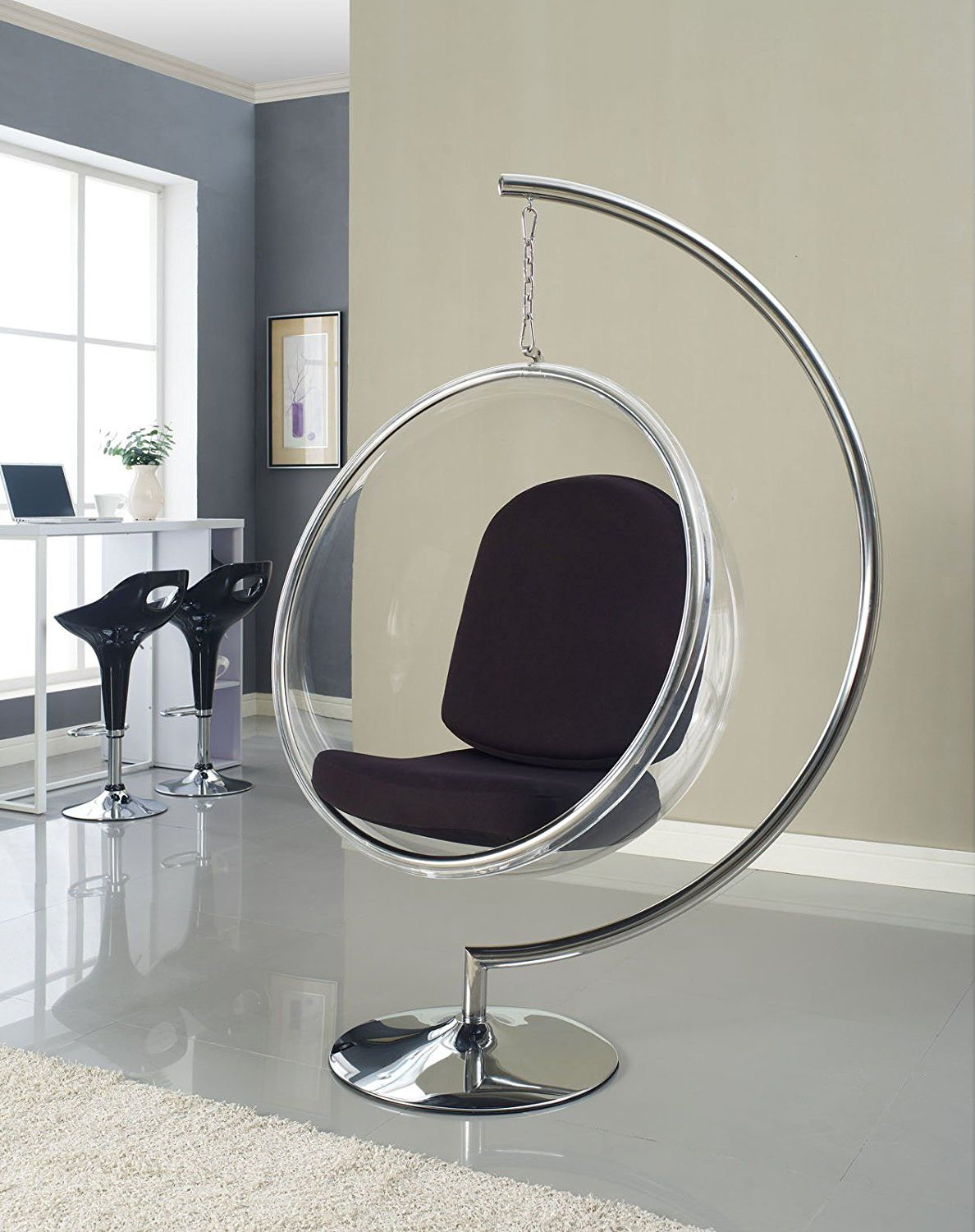Bubble chair with black pillows by lexmod pinterest bubble chair