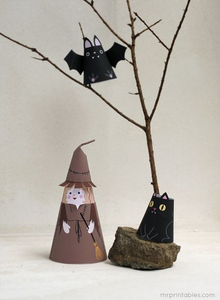 Halloween cone girls / printable paper dolls