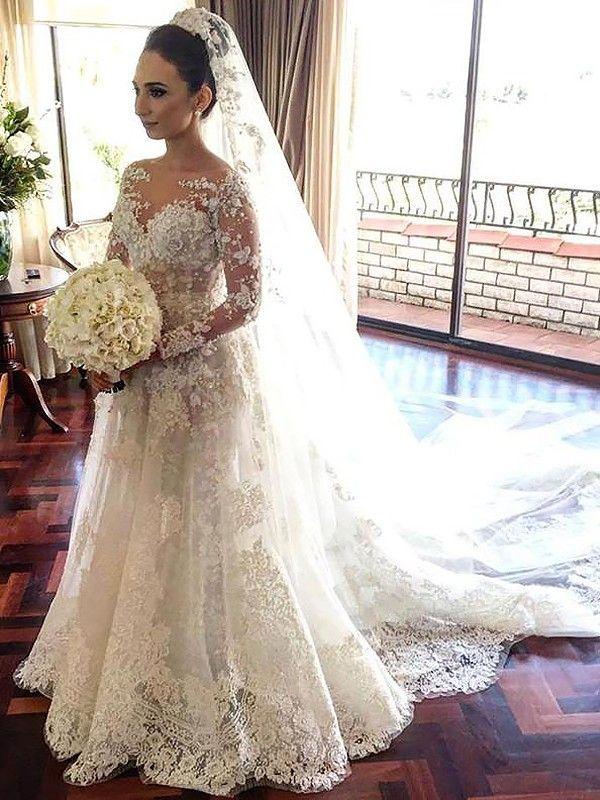 A-Line/Princess Bateau Long Sleeves Lace Chapel Train Tulle Wedding ...