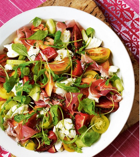 tomato salad with air dried ham making salade cuisine pinterest