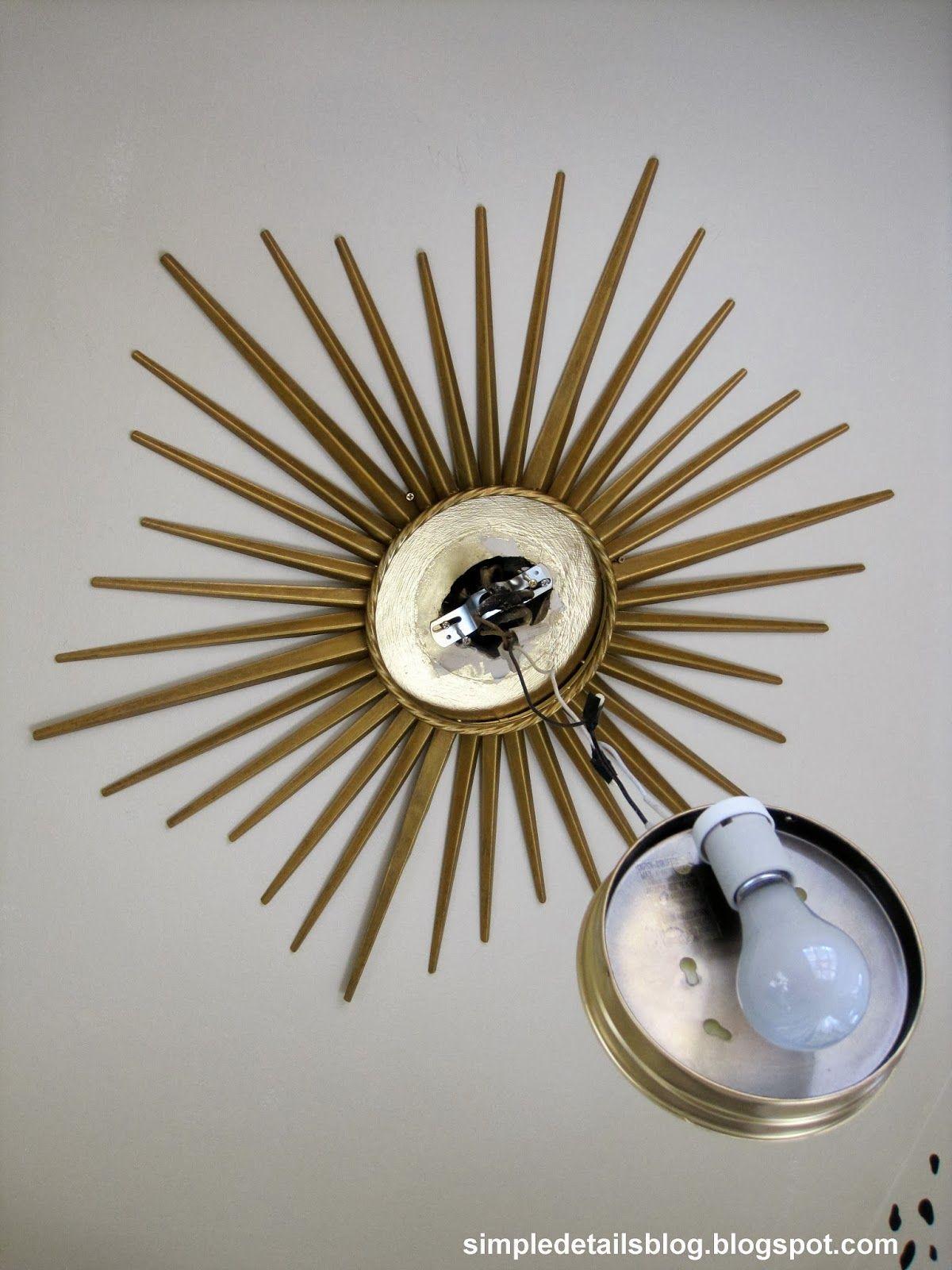 Simple Details Diy Gold Sunburst Flush Mount Light Gold Sunburst Flush Mount Lighting Sunburst