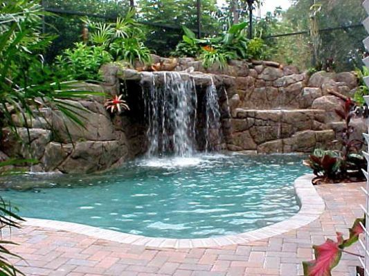 Tall Waterfalls For Pools Inground Backyard Pool Pool Waterfall Small Backyard Pools