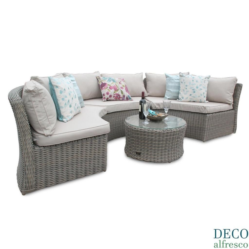 Deco Alfresco Half Moon Rattan Outdoor Garden Sofa Set Grey Covers