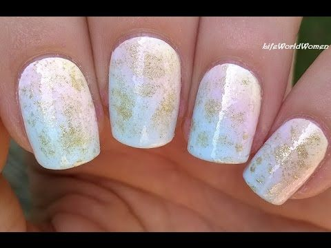 Ombre nail art in pastels gold diagonal sponge nails beauty ombre nails in pastel shades with gold decoration in todays nail art video i share a soft ombre nail art design using makeup sponge prinsesfo Images