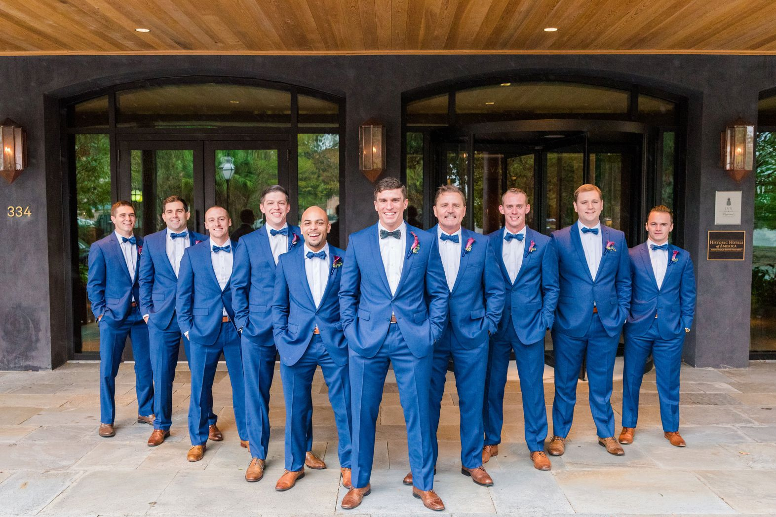 Dapper Bright Blue Suits Rainy Charleston Wedding at The