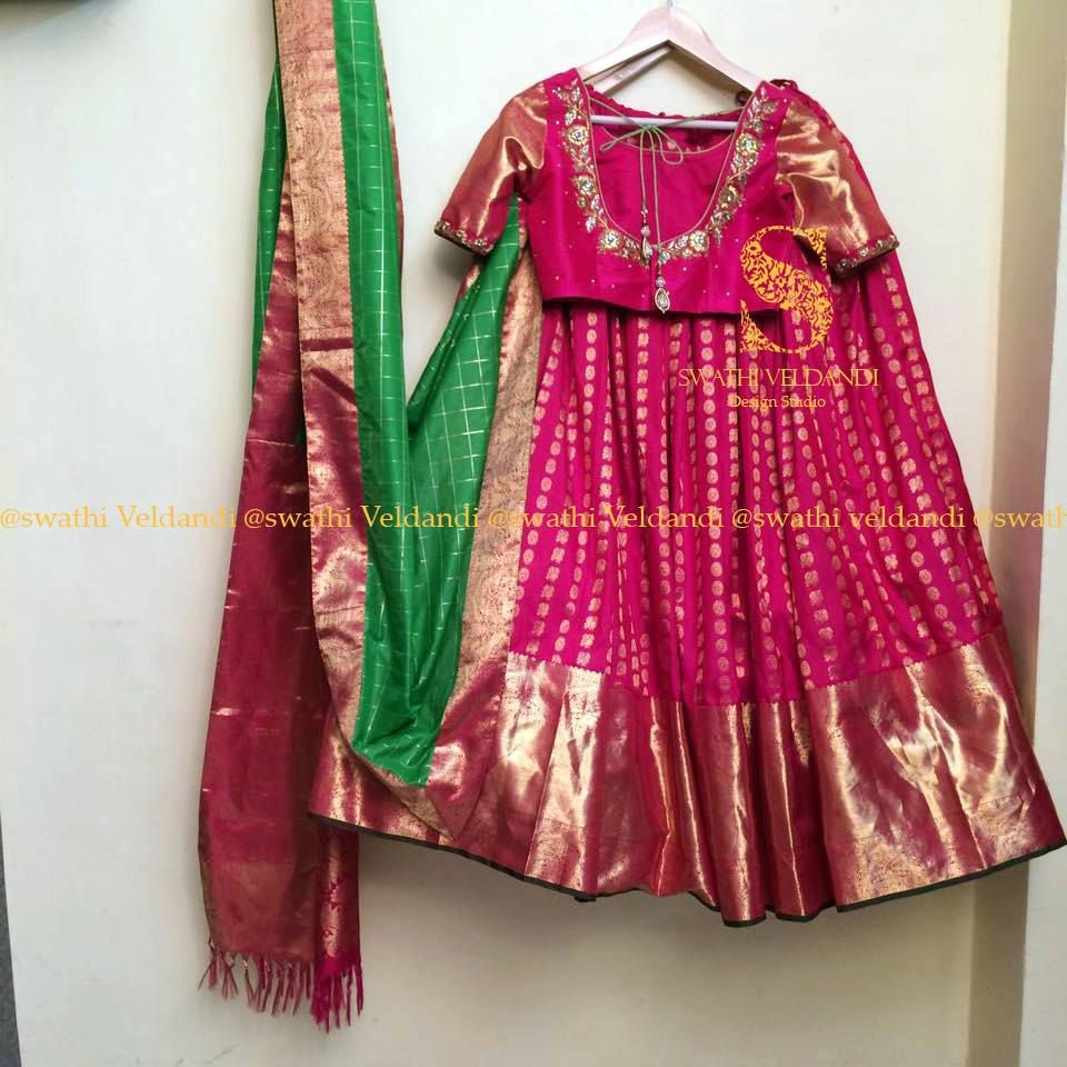 cf65761e5a0bb Beautiful pink color pure kanchi pattu lehenga abd blouse with hand  embroidery thread work. 08 September 2017