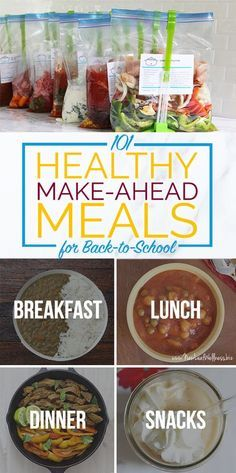 101 Healthy Make-Ahead Meals for Back-to-School (including breakfasts, lunches, dinners, and snacks images