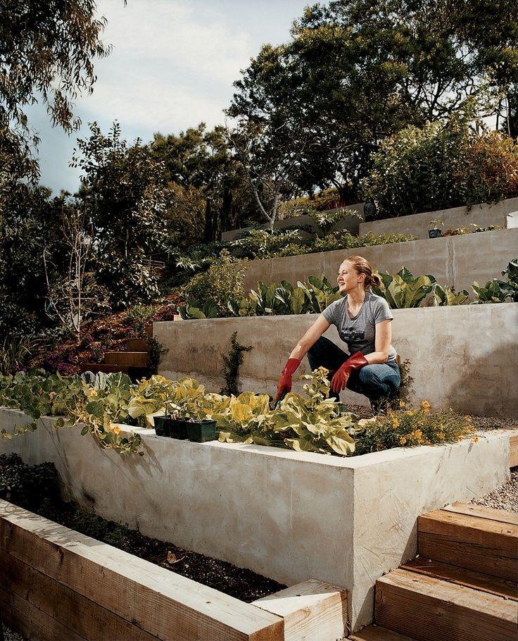 35 Advantageous Small Vegetable Garden Ideas For Your: Modern Terraced Vegetable Garden- Great Use For A Steep