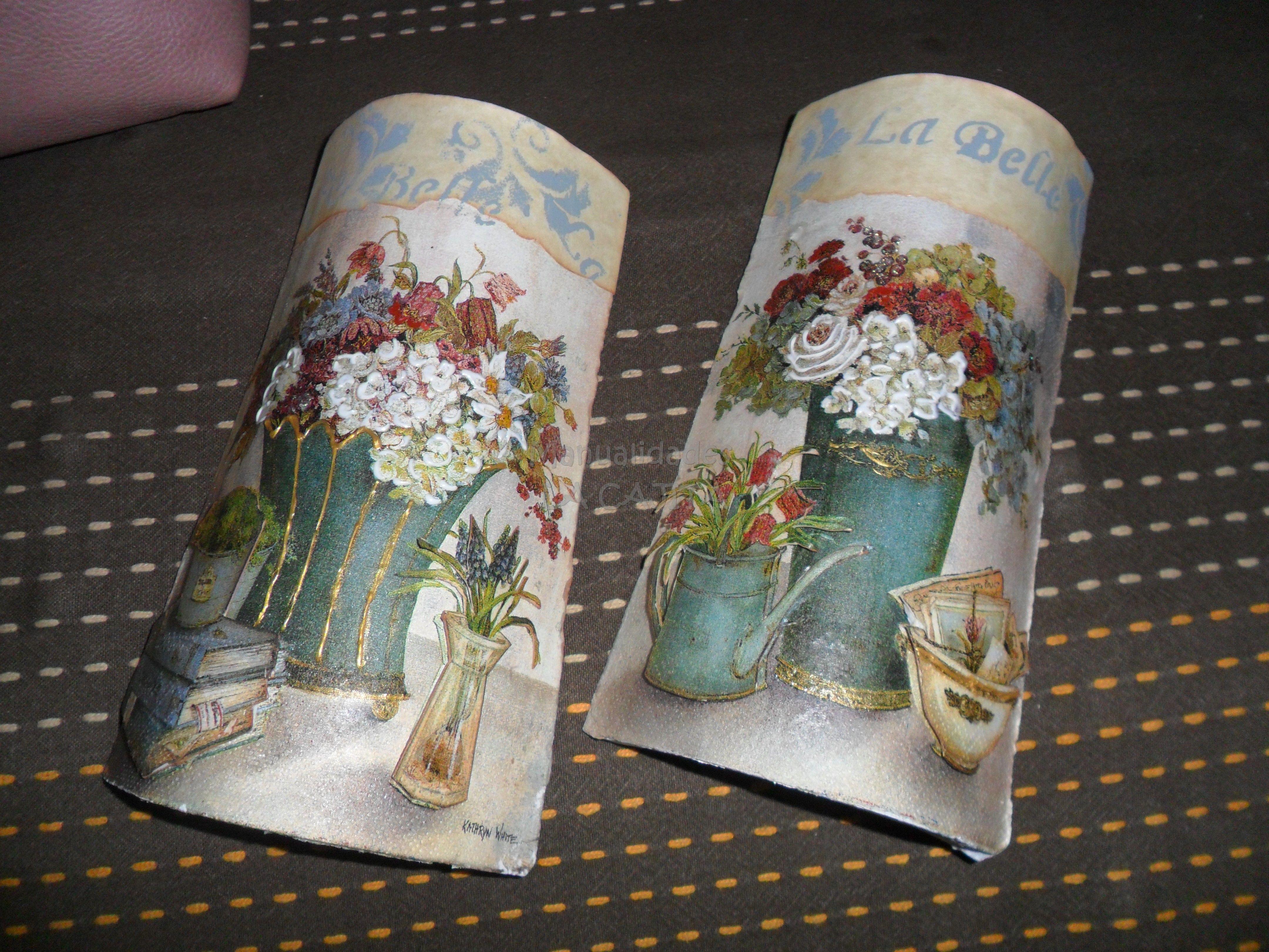 Tejas decoradas con acr licos decoupage y detalles con - Tejas pequenas decoradas ...
