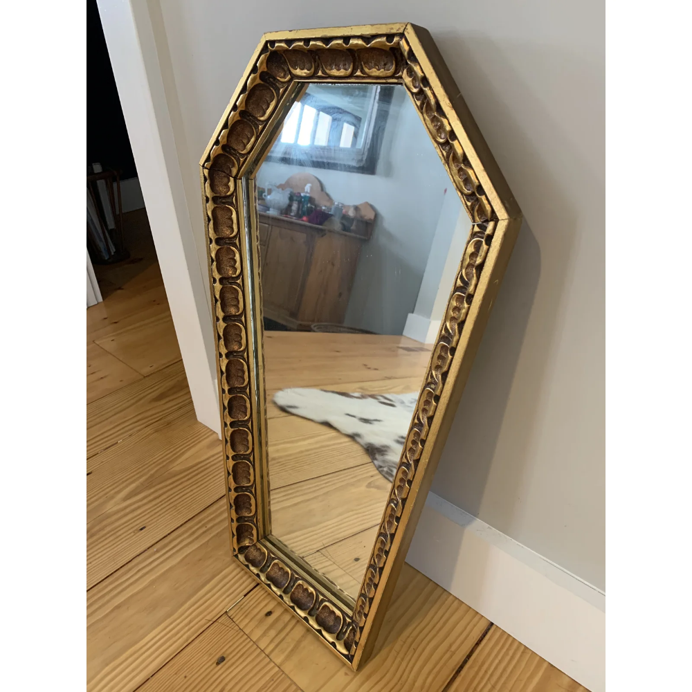 Photo of Gothic Wood Coffin Shaped Mirror