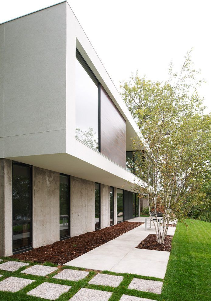 Exterior House Designs Exterior Modern With Concrete Patio Flat Roof: Concrete Flat Roof Design Exterior Modern With Specimen Tree Roof Line Flat Roof