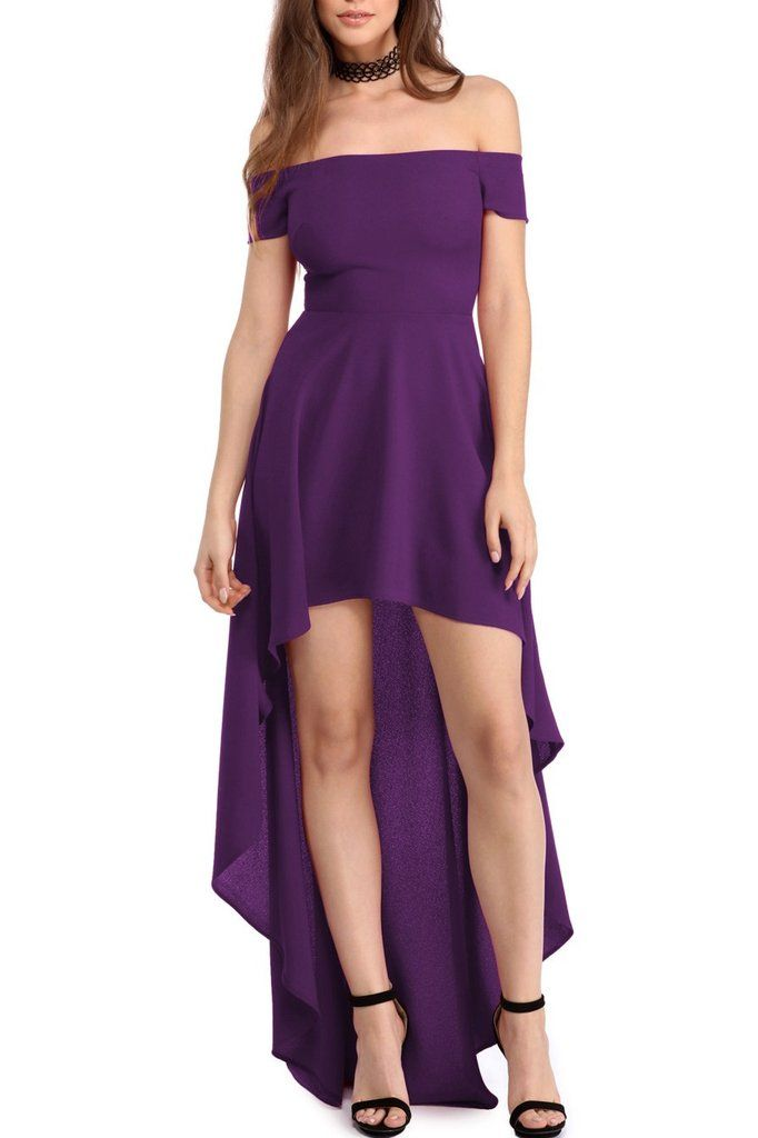 Purple High Low Hem Off Shoulder Cocktail Party Dress