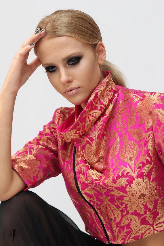 f4cc48f7207e2d Varli crop jacket Khelma pants Varli crop jacket Kimkhab Brocade Banarsi  textile Pink- Khelma pants by BIRDSKINAU on Etsy