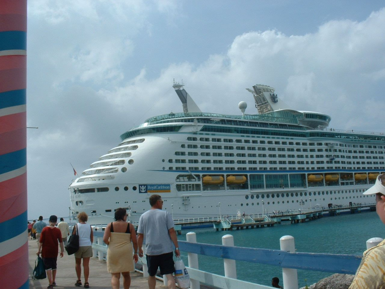 Royal Caribbean's Freedom of the Seas walking back from