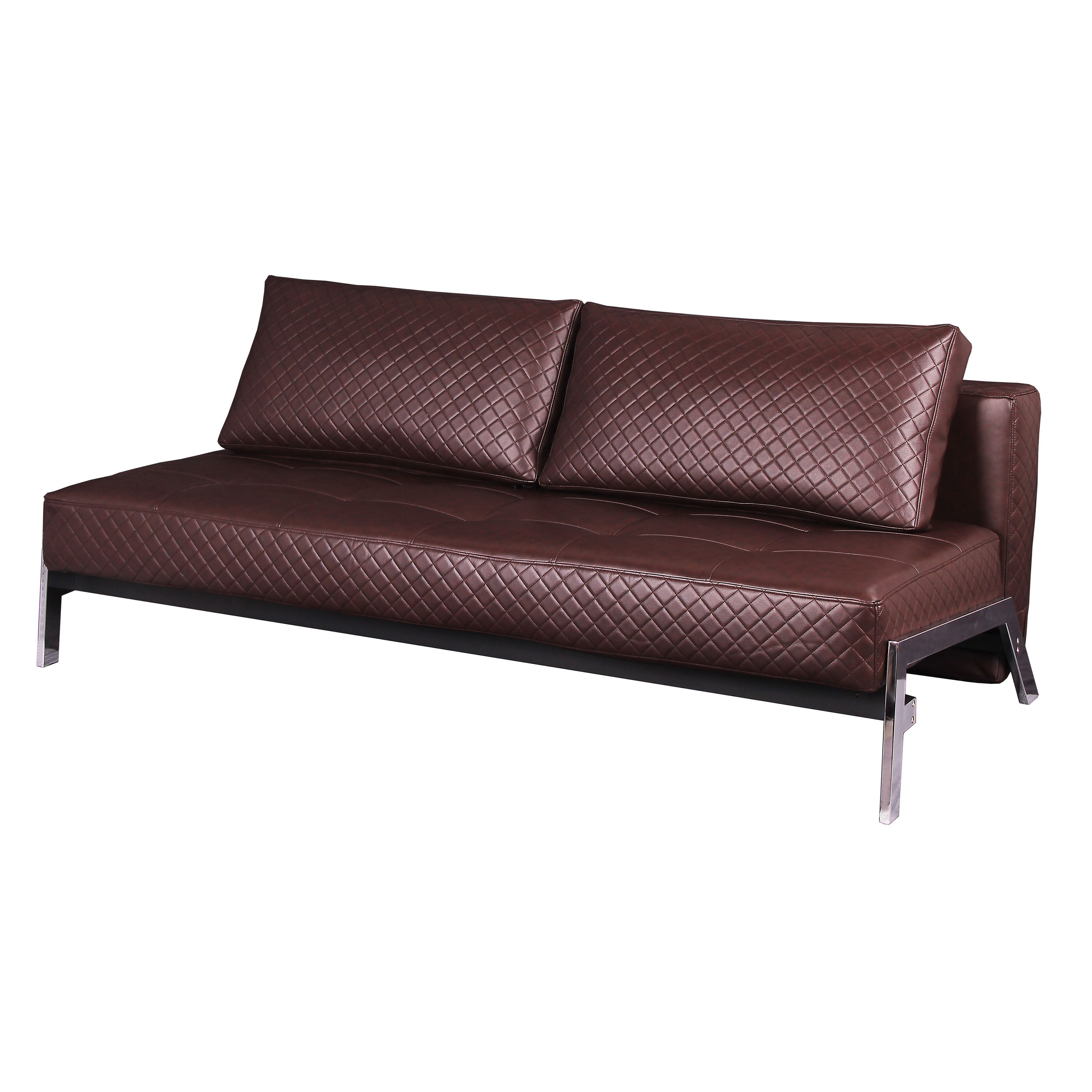 james antique brown quilted bonded leather futon sleeper a303