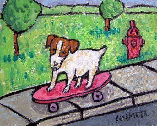 JACK RUSSELL TERRIER DOG art PRINT folk pop art 13x19 JSCHMETZ skateboarding