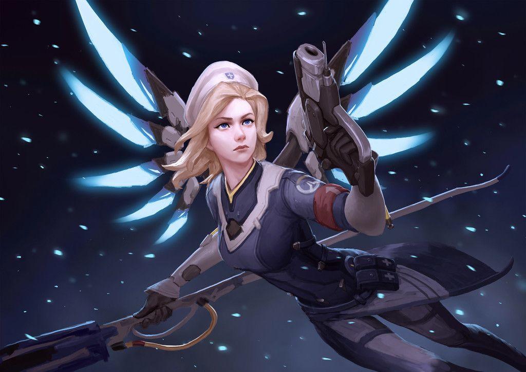Mercy, gun, fly, overwatch wallpaper overwatch video