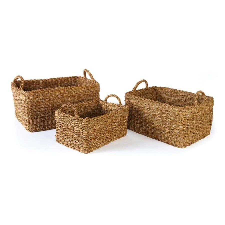 Seagrass Rectangular Baskets w/Cuffs Set of 3 | Pinterest | Studio ...