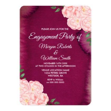 burgundy purple pink rose engagement party invite party gifts gift