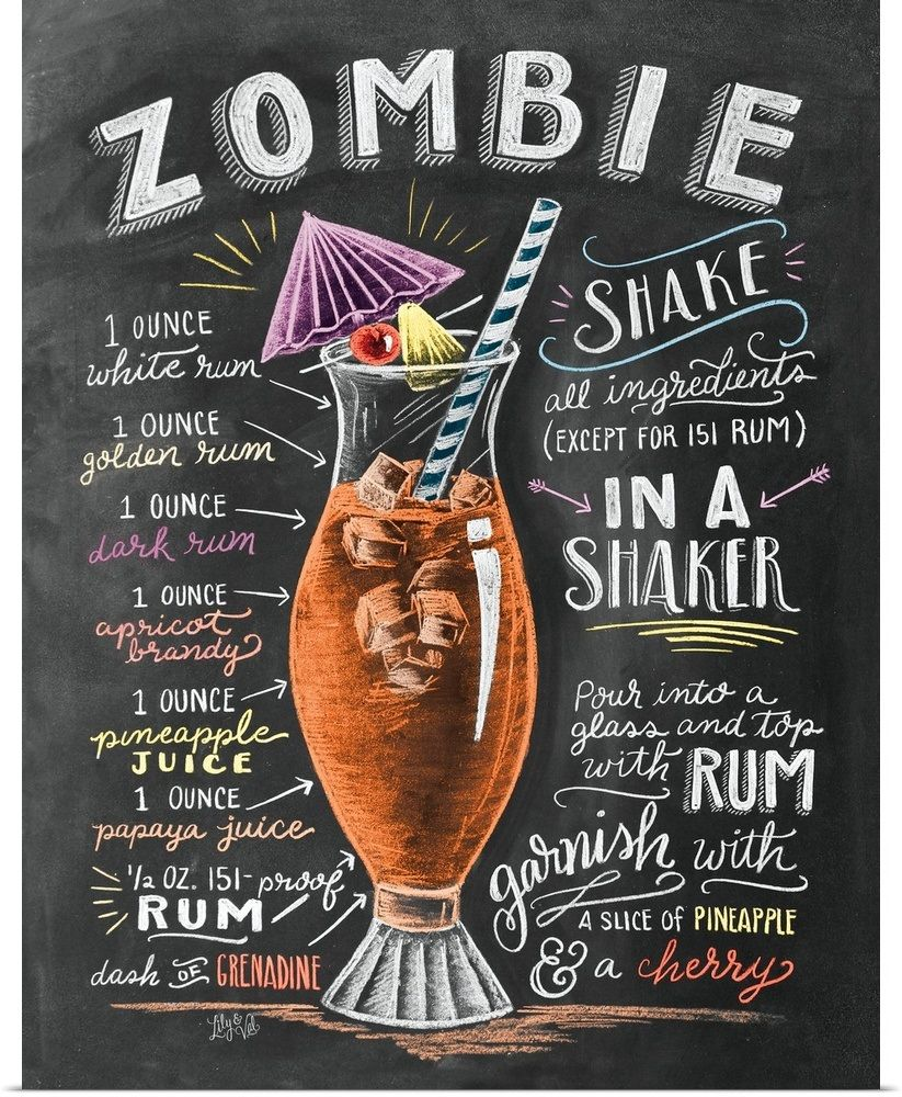 Zombie Cocktail Handlettering Zombie Cocktail Alcohol Drink Recipes Cocktail Recipes