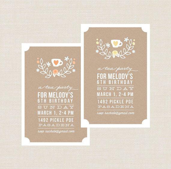 Girls Tea Party Invitation Afternoon Tea Or Morning Tea Birthday