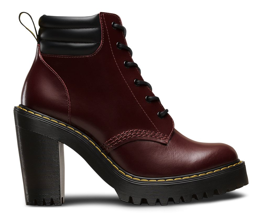 The Persephone boot is part of the Seirene collection. In bold shiraz red  leather they're instant statement-makers- with heavily grooved air-cushioned  soles ...