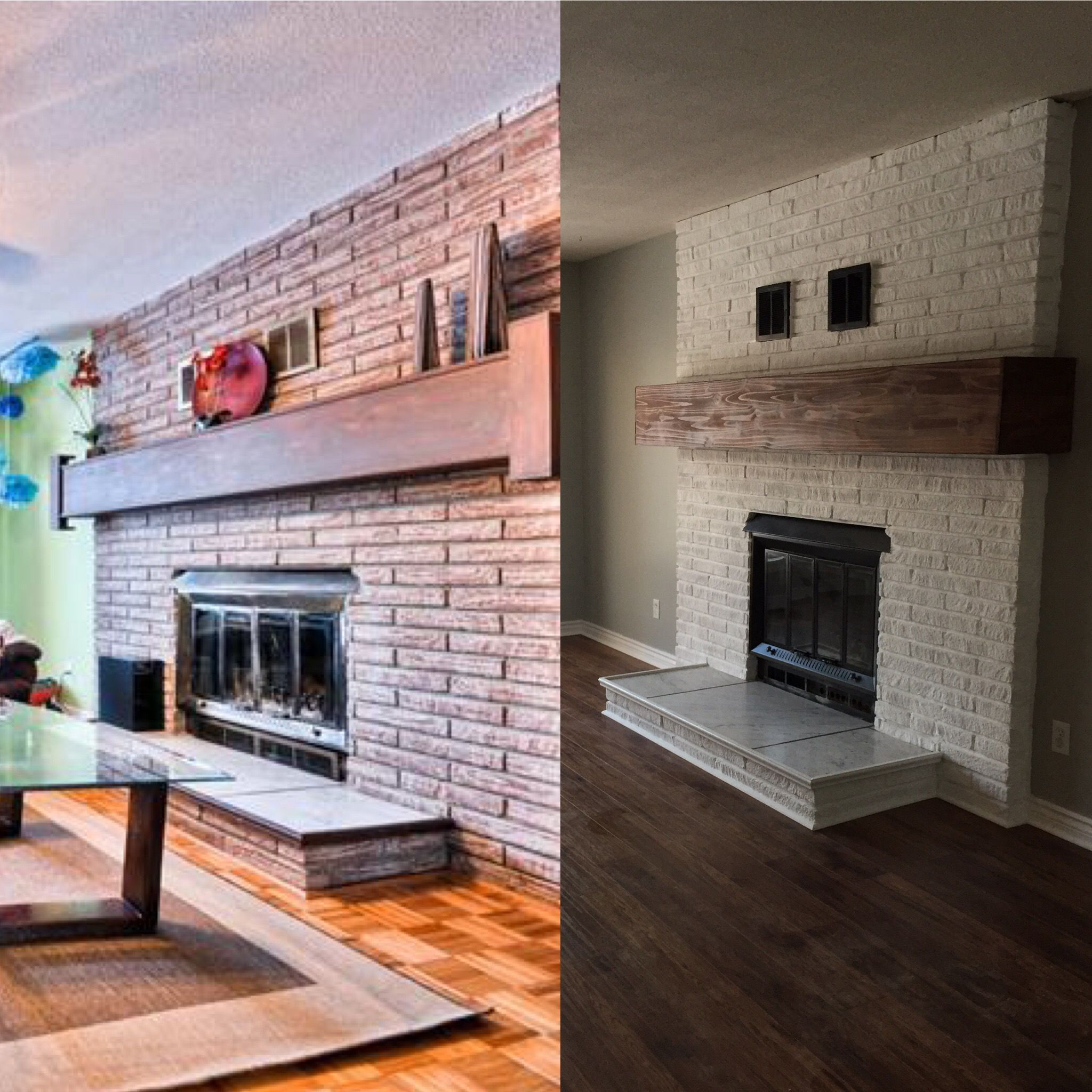 Before / after painting brick fireplace in white
