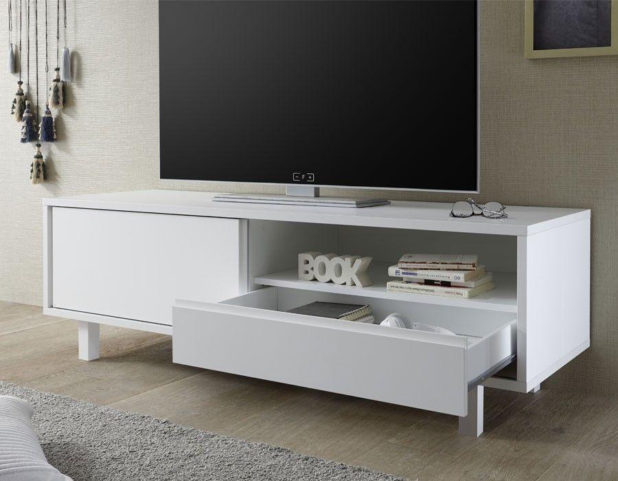 Meuble Tv Design Blanc Laque Flavia Meuble Tv Design Meuble