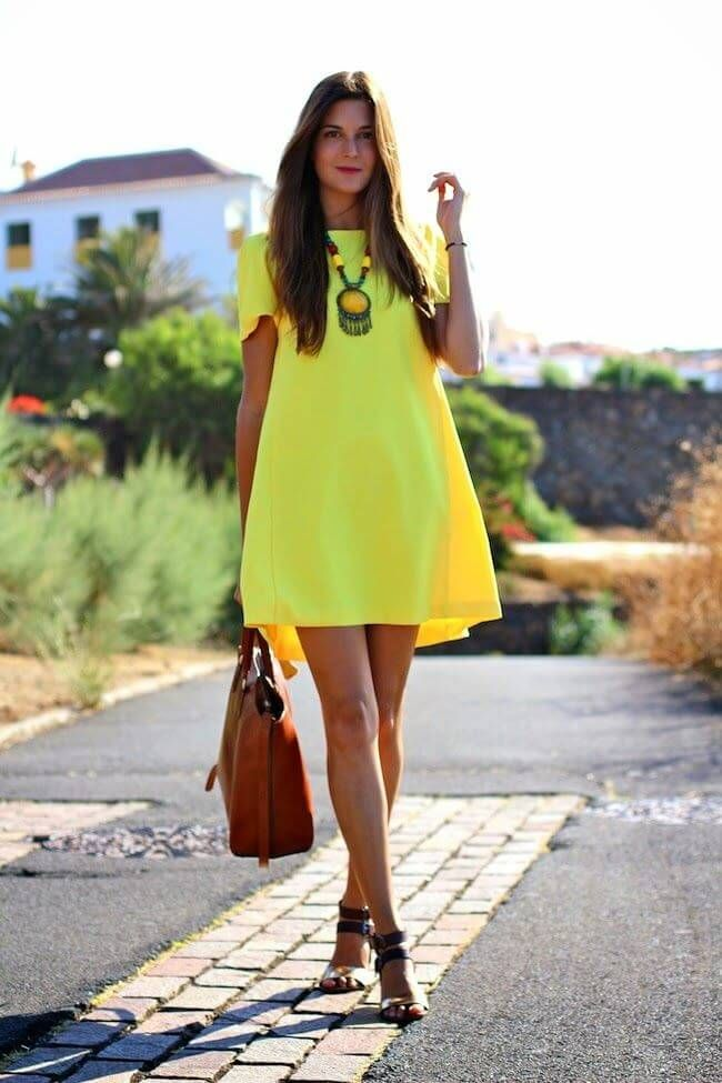 Neon yellow dress, bold necklace and neutral accessories ♥ summer fashion outfit  ideas